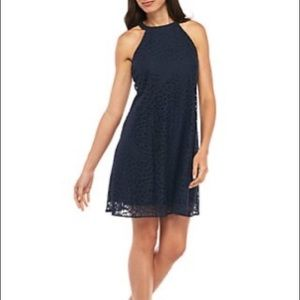 NWT Taylor Navy Lace Halter Dress New Size 10